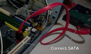 Joining the SATA cable to the motherboard and hard disk