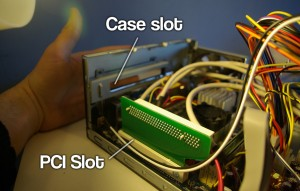 Getting the 90 degree PCI convertor into the slot