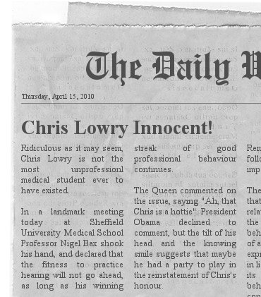 Fake newspaper article about Chris Lowry