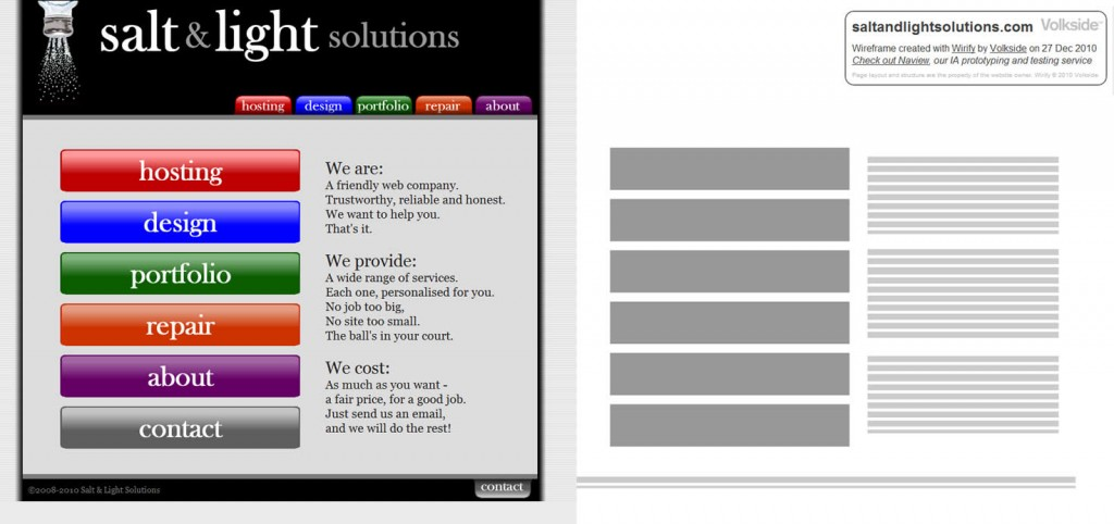 Wireframe of Salt and Light Solutions