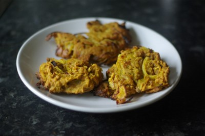 Three delicious looking onion bhajis