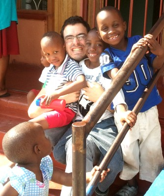 Chris with boys from Hope house