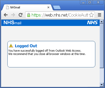Logging out of NHSmail