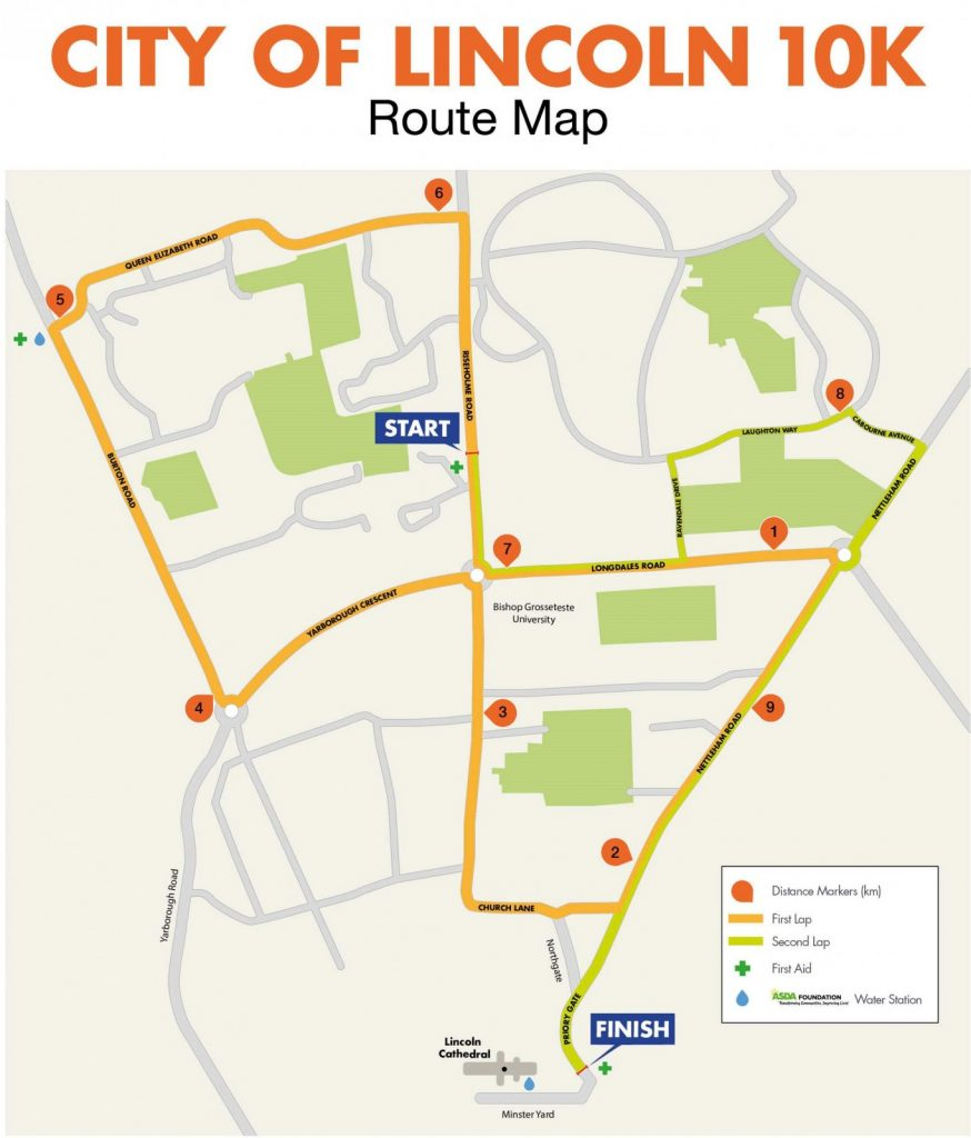 City Of Lincoln 10K Route Map
