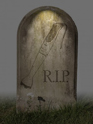 A tombstone with a blender and RIP engraved on it.